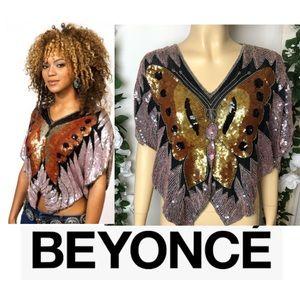 BEYONCÉ Butterfly Sequin Vintage 70's Silk Top !!!